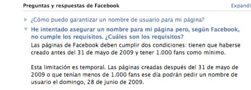 Personalización de la URL de las páginas de Facebook
