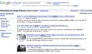 Influenza OR Gripe A OR H1N1 según Google
