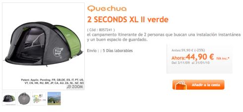 Tienda de campaña Quechua 2 SECONDS XL II Verde en Decathlon España