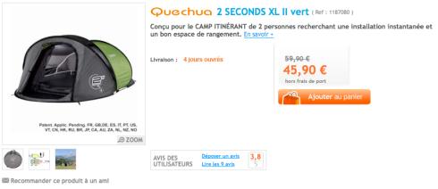 Tienda de campaña Quechua 2 SECONDS XL II en Decathlon Francia